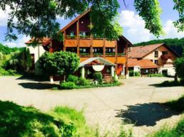 Frontansicht mit Parkplatz Hotel Winter in Offenhausen