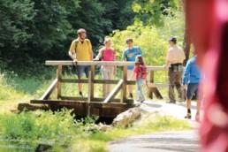 Wanderer auf Brücke